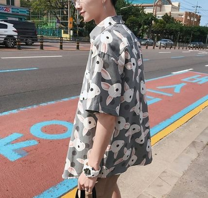 Shirts Street Style Other Animal Patterns Cotton Short Sleeves 19