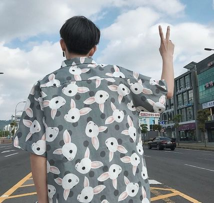 Shirts Street Style Other Animal Patterns Cotton Short Sleeves 20