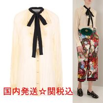 GUCCI Casual Style Silk Street Style Bi-color Long Sleeves Plain