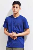 LACOSTE Pullovers Henry Neck Street Style Plain Cotton Short Sleeves