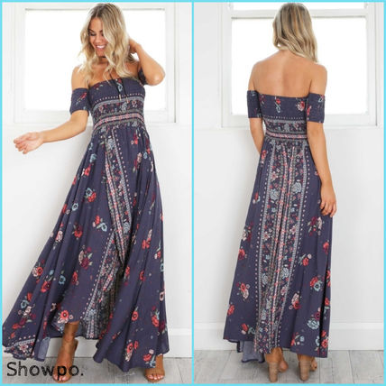 Flower Patterns Casual Style Maxi Long Dresses