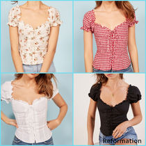 REFORMATION Gingham Flower Patterns Lace-up Casual Style Linen