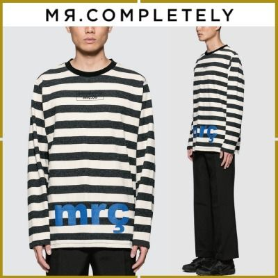 Crew Neck Pullovers Stripes Street Style Long Sleeves