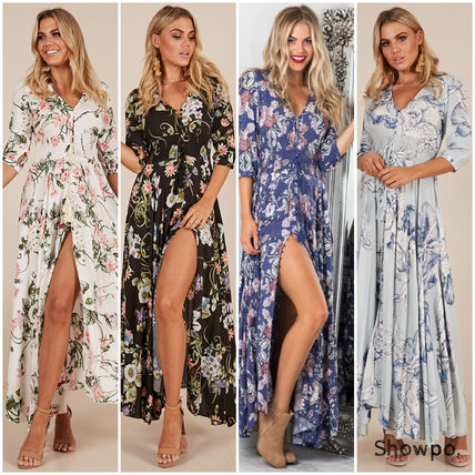 Flower Patterns Casual Style V-Neck Cropped Long Dresses