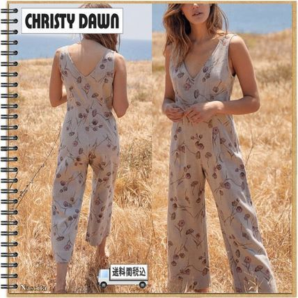 Dungarees Flower Patterns Casual Style Linen Sleeveless