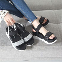 Open Toe Platform Casual Style Faux Fur Plain Sport Sandals