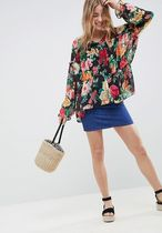 ASOS Flower Patterns Casual Style Chiffon V-Neck Long Sleeves