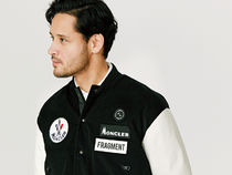 MONCLER MONCLER GENIUS Short Blended Fabrics Collaboration Leather Varsity Jackets