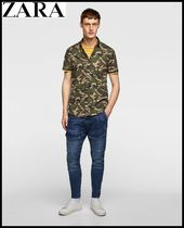 ZARA Camouflage Cotton Short Sleeves Shirts