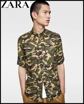 ZARA Button-down Camouflage Cotton Shirts