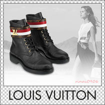 Louis Vuitton Stripes Monogram Leather Elegant Style Ankle & Booties Boots