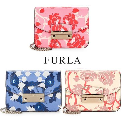 Furla 2018 Ss Flower Patterns 2way Leather Elegant Style Shoulder Bags