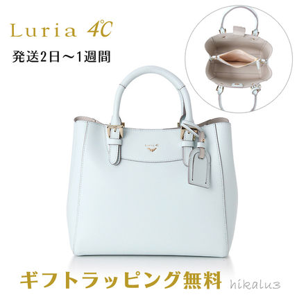2WAY Plain Leather With Jewels Elegant Style Totes