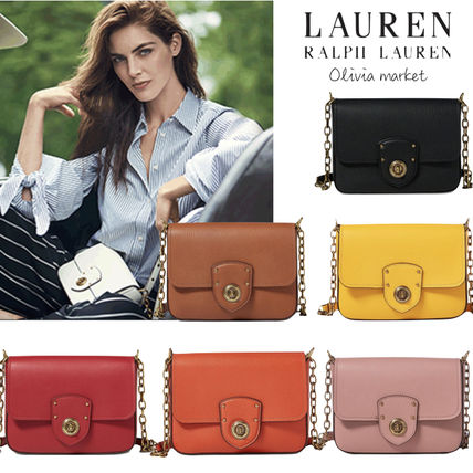 Casual Style Chain Plain Leather Shoulder Bags