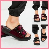 Missguided Open Toe Casual Style Velvet Plain With Jewels Sandals