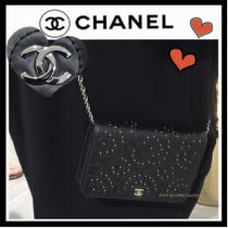 CHANEL ICON Flower Patterns Calfskin Studded 3WAY Elegant Style
