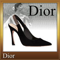 Christian Dior Velvet Plain Pin Heels Party Style Shoes