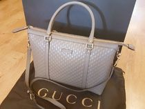 GUCCI A4 Plain Leather Elegant Style Totes