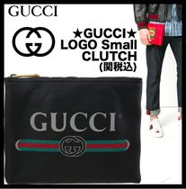 GUCCI Unisex Street Style Leather Clutches