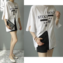 Street Style U-Neck Cotton Medium Short Sleeves T-Shirts