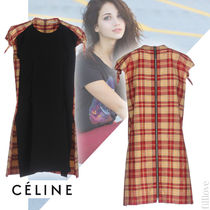 CELINE Tartan Casual Style Plain Medium Short Sleeves