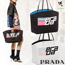 PRADA Casual Style Canvas A4 Bi-color Totes