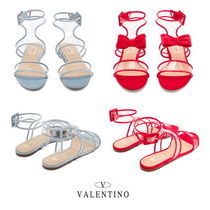 VALENTINO Open Toe Platform Casual Style Leather