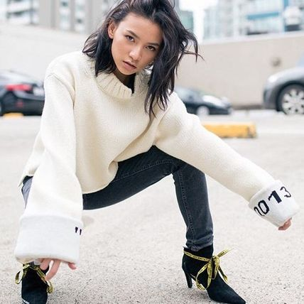 Short Casual Style Wool Long Sleeves High-Neck Oversized
