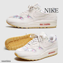 Nike AIR MAX 1 Flower Patterns Lace-up Casual Style Blended Fabrics