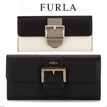 FURLA Bi-color Plain Leather Long Wallets