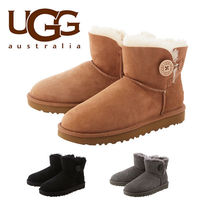 UGG Australia MINI BAILEY BUTTON Rubber Sole Casual Style Sheepskin Plain