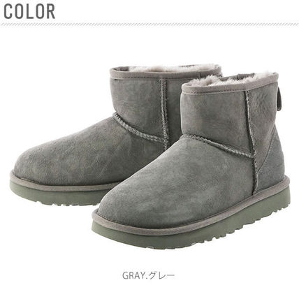 UGG Australia Ankle & Booties Round Toe Rubber Sole Casual Style Fur Plain 6