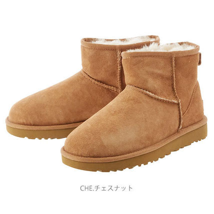 UGG Australia Ankle & Booties Round Toe Rubber Sole Casual Style Fur Plain 9