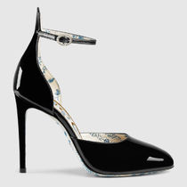 GUCCI Flower Patterns Round Toe Blended Fabrics Plain Leather