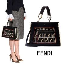 FENDI RUNAWAY Monoglam 2WAY Leather Elegant Style Handbags