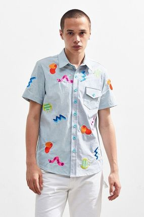 Button-down Street Style Short Sleeves Shirts