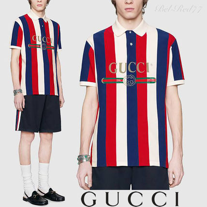 12017eef99703 GUCCI 2018-19AW Stripes Cotton Short Sleeves Oversized Polos by Bel ...