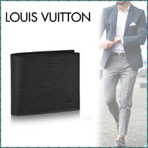Louis Vuitton EPI Blended Fabrics Plain Leather Folding Wallets