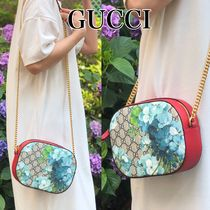 GUCCI Flower Patterns Elegant Style Shoulder Bags