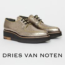 Dries Van Noten Platform Lace-up Casual Style Other Animal Patterns Leather