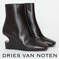 Dries Van Noten Plain Elegant Style Wedge Boots
