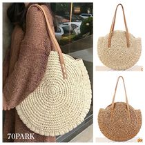 Casual Style Plain Straw Bags
