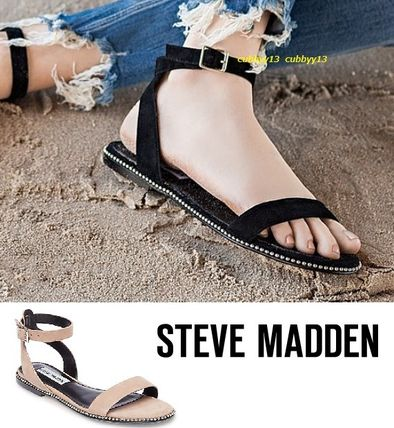 Open Toe Casual Style Suede Street Style Plain Sandals