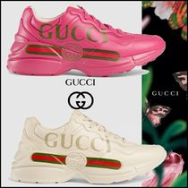 GUCCI Monogram Rubber Sole Casual Style Street Style Leather