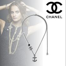 CHANEL Costume Jewelry Blended Fabrics Chain With Jewels