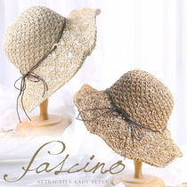 Blended Fabrics Khaki Straw Hats