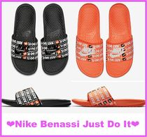 Nike BENASSI Open Toe Casual Style Street Style Shower Shoes Flat Sandals