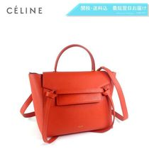 CELINE Belt 2WAY Plain Leather Elegant Style Handbags