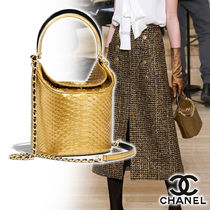 CHANEL Calfskin Blended Fabrics 2WAY Chain Other Animal Patterns