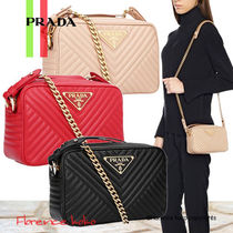 PRADA DIAGRAMME Calfskin 2WAY Chain Plain Elegant Style Shoulder Bags
